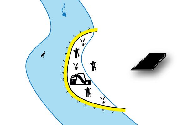 cofferdam parallelt med elven