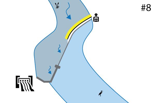 Batardeaux souples Water-Gate©. Schéma d'une installation sur un seuil de rivière | Déversoir. Cas #7